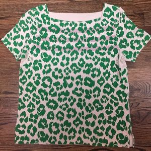 Marc by Marc Jacobs Green Leopard Print Knit Tee